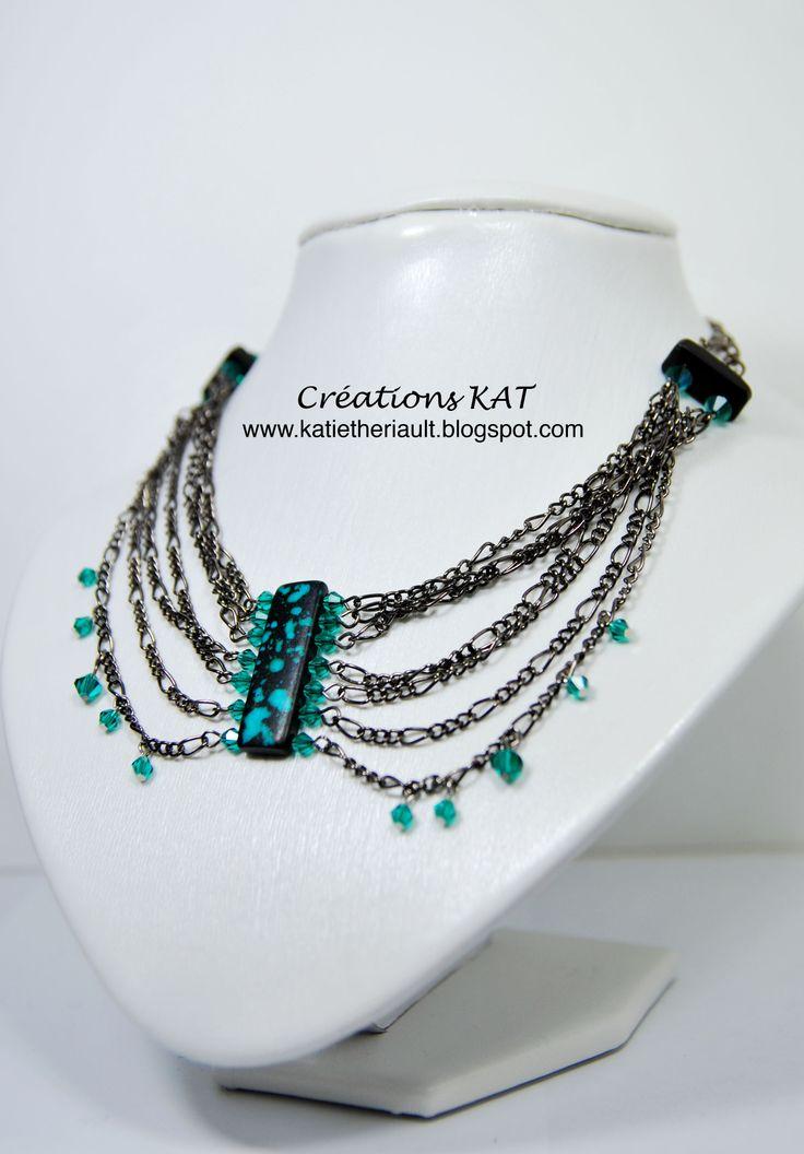 Collier, cristaux, chaine, os, Créations KAT, www.katietheriault.blogspot.com
