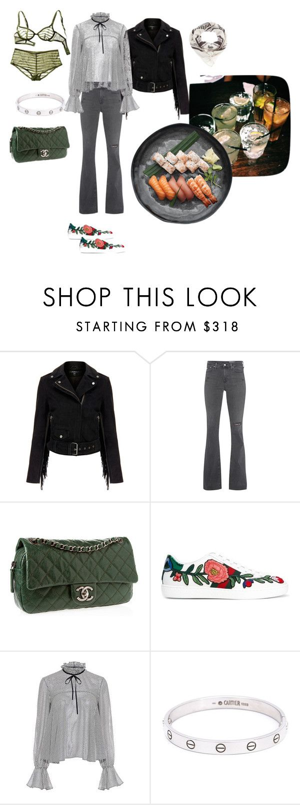 """""""sushi date"""" by rania-hawilo ❤ liked on Polyvore featuring Jenna Leigh, MuuBaa, AG Adriano Goldschmied, Chanel, Gucci, Saloni, Cartier and Lala Berlin"""