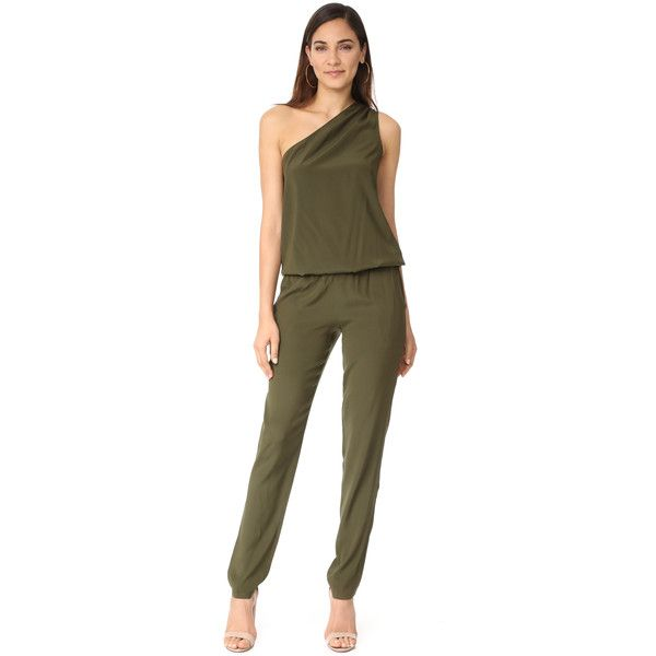 Ramy Brook Lulu Jumpsuit featuring polyvore, women's fashion, clothing, jumpsuits, urban green, jump suit, brown jumpsuit, green jumpsuit, ramy brook and one shoulder jumpsuit