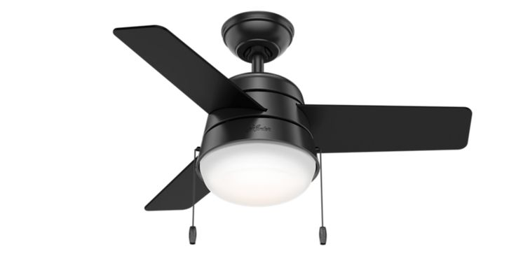 The Scandinavian style lighting complemented by a mid-century color palette along with the rounded edges throughout the Aker gives it a soft modern look. With a 36-inch blade span, this petite fan is perfect for small spaces like home offices, hallways and even bathrooms. But don't let its size fool you: This modern ceiling fan packs a punch when it comes to airflow and keeping you cool.