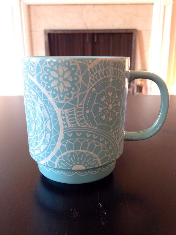 Light blue and white handdecorated mug by DecafDoodles on Etsy