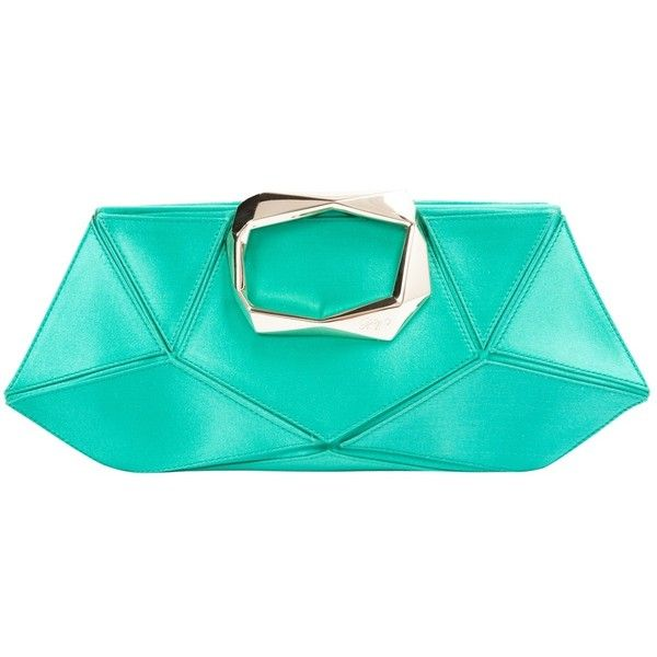 Pre-owned Roger Vivier Silk Clutch Bag ($303) ❤ liked on Polyvore featuring bags, handbags, clutches, green, women bags clutch bags, silk handbags, preowned handbags, green clutches, silk purse and green purse