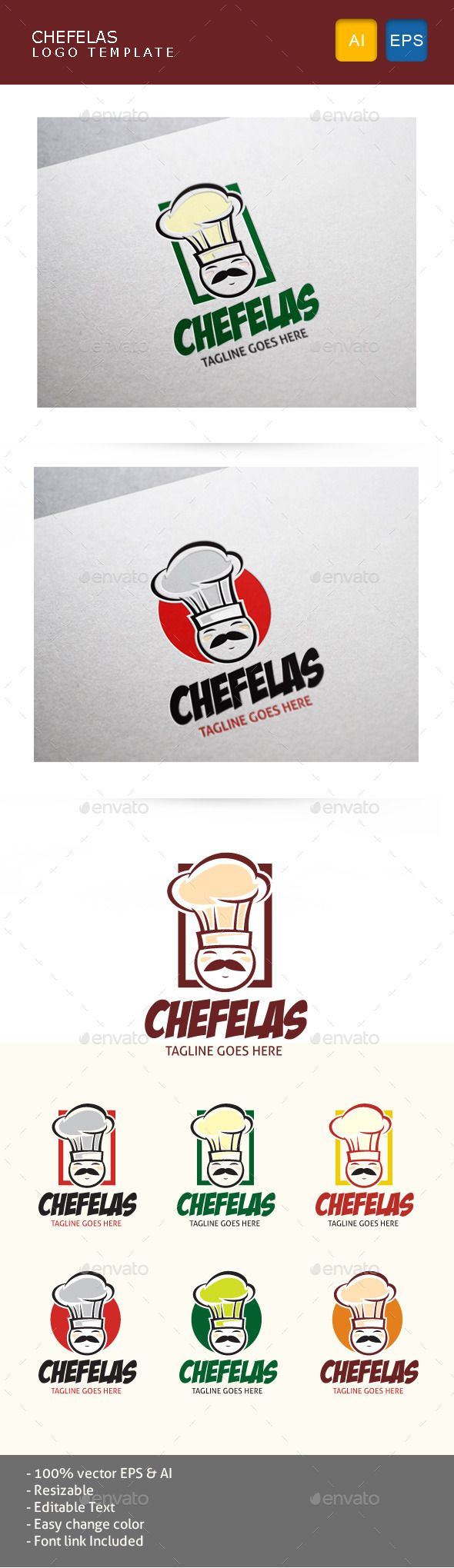Chef character logo for food, restaurant, and any cooking busines related.  Provide in