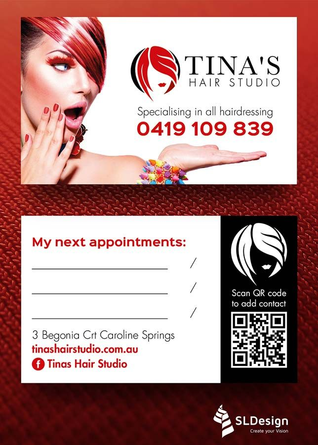 Business Cards for Tina´s Hair Studio - part of an identity + collateral redesign and production