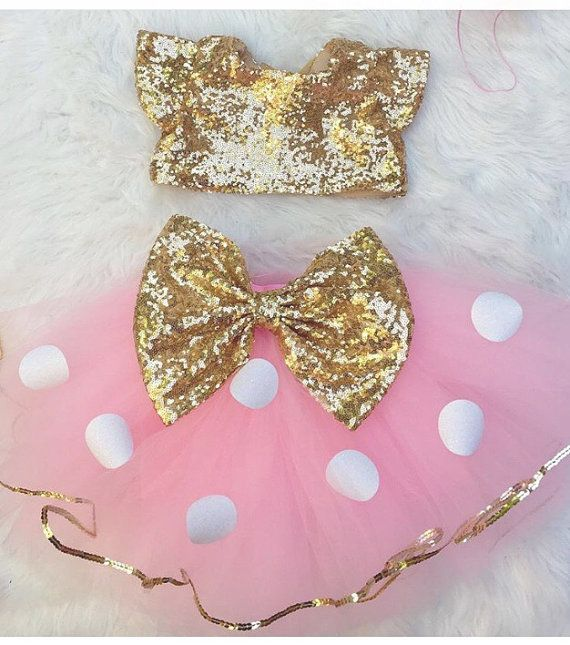 Baby Girls Pink White Polka Dot With Gold Sequin Bow Sewn