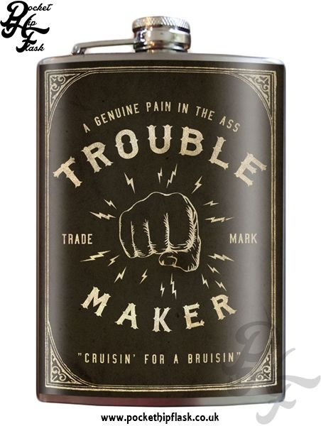 Art inspired stainless steel Trouble Maker hip flask @ The Pocket Hip Flask Company: