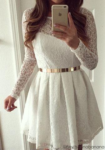 White Lace Short Dress