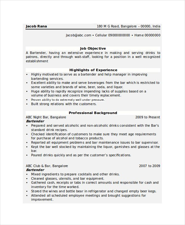 14+ Bartender Resume Templates Free Printable Word  PDF Sample