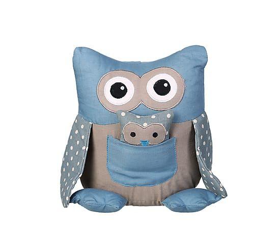 Дверной стоппер OWL - ткань - голубой - В23хД18хШ15