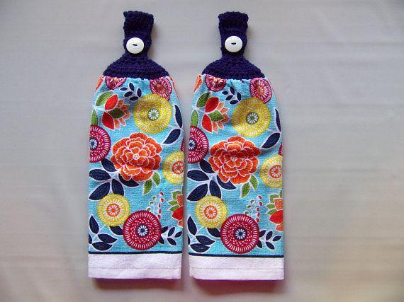 Crochet top hanging kitchen towel set of 2, navy blue hand