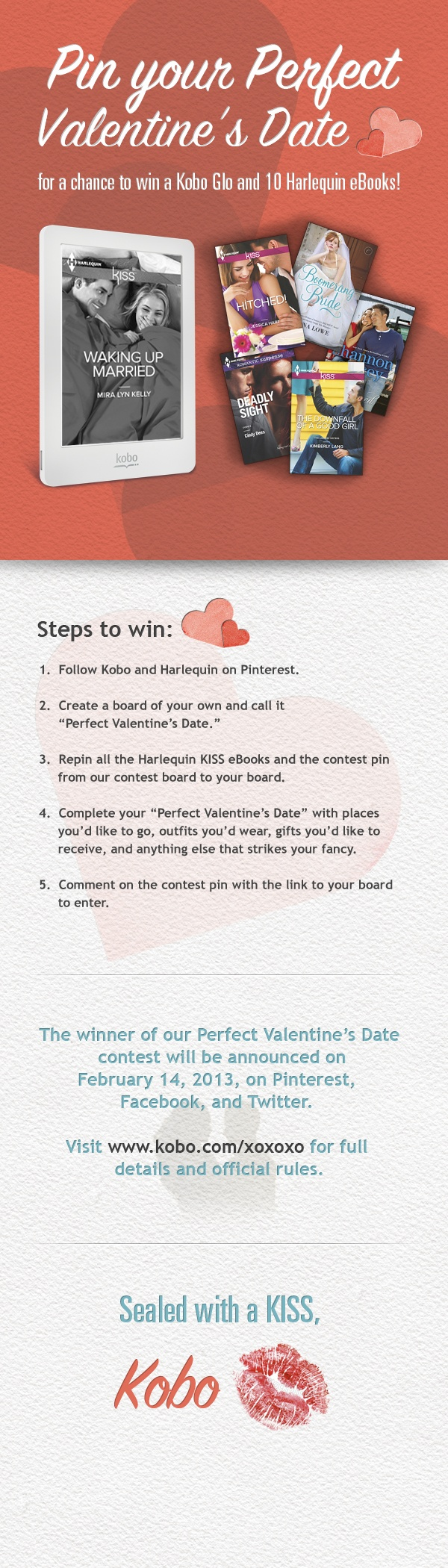 Pin Your Perfect Valentine's Date for a chance to win a Kobo Glo and 10 Harlequin eBooks! #KoboContest