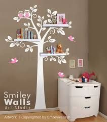wall decal trees decor nursery vinyl baby: shelf tree wall decal children wall decal nursery decal wall sticker shelves tree decal