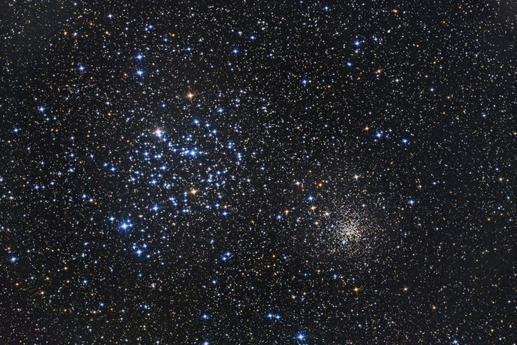 "Open Star Clusters M35 and NGC 2158 -- ""...near the plane of our Milky Way galaxy, they contain from 100 to 10,000 stars, all of which formed at nearly the same time. M35, on the upper left, is relatively nearby, relatively young at 150 million years old, and relatively diffuse, with about 2500 stars spread out over a volume 30 light years... NGC 2158, is at the lower right... is... over 10 times older, and much more compact with many more stars in roughly the same volume of space."""