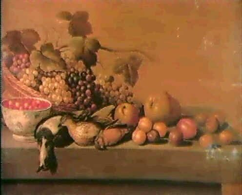 Circle of Roelof Koets the Elder (Dutch, 1592–1655)  Title:  A STILL LIFE OF A BASKET OF GRAPES A DUTCH DELFT BOWL OF STRAWBERRIES A DEAD LAPWING SONG THRUSH AND FINCH AN APPLE