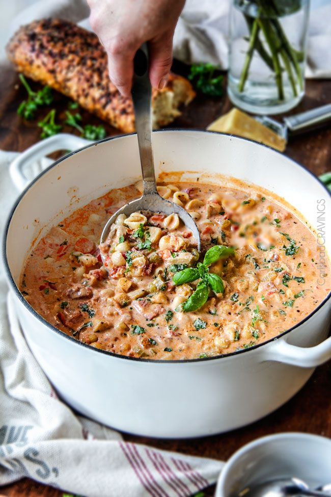 where are coach handbags made Creamy Basil Parmesan Italian Soup tastes better than any restaurant soup  Super easy and seasoned to perfection bursting with tender chicken  tomatoes  carrots  celery and macaroni enveloped by creamy Parmesan