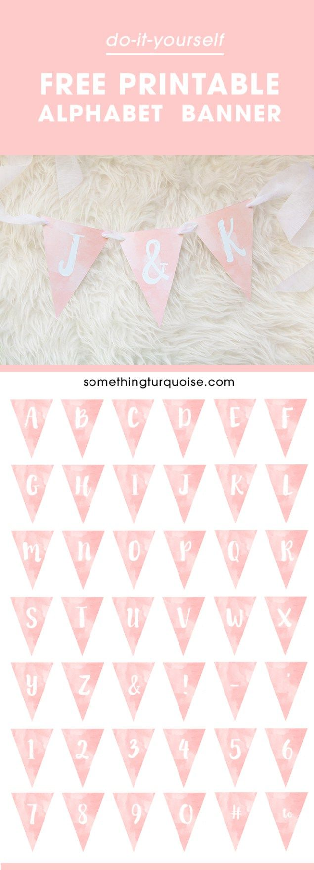 Adorable FREE printable watercolor alphabet banner you can make it say anything you want