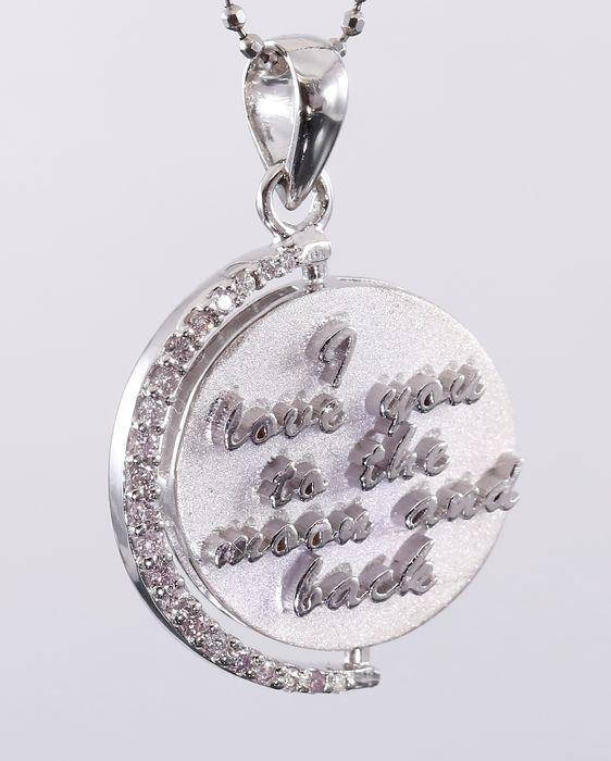 """""""Ik hou van je naar de maan en terug"""" Revolving hanger in witgoud gecertificeerd 0.61 Ct. met roze diamanten  EUR 110.00  Meer informatie"""