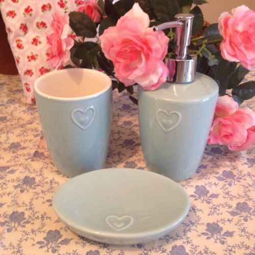 Shabby Chic Duck Egg Blue Heart Bathroom Wash Set Soap Dish Dispenser Tumbler in Bath Accessory Sets | eBay