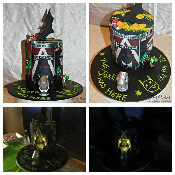 A batman cake for the big boys! Edible Arkham images and Nintendo firgurine a bursting out finished off with a bat signal