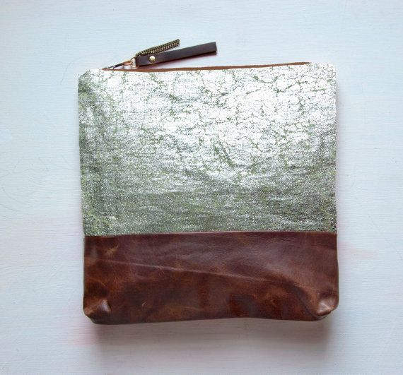 metallic leather clutch/makeup bag.