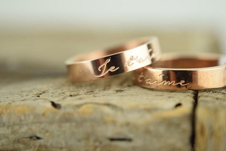 Freundschaftsringe - Ring Je t`aime Edelstahl Rosévergoldet <3 3 ... - ein Designerstück von sucre-des-amours bei DaWanda