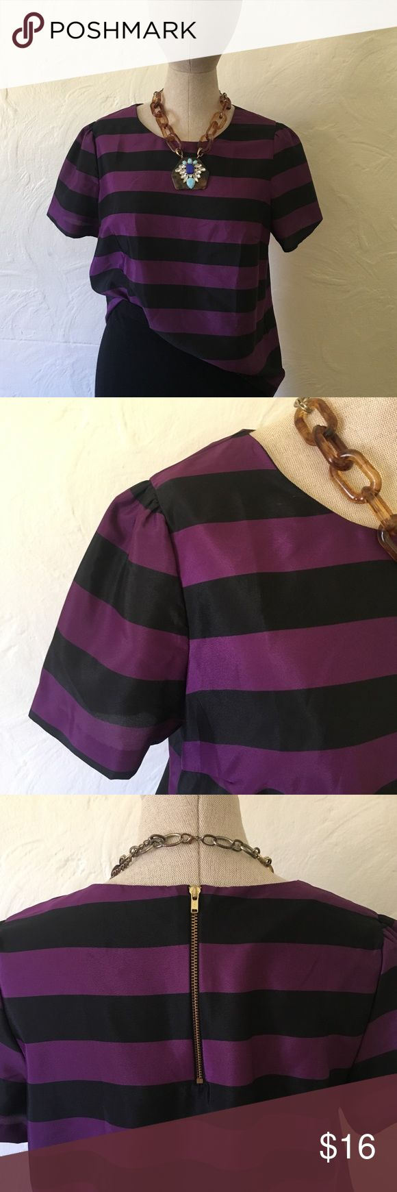 Nordstrom Purple and Black Striped Pleione Blouse Stylish purple and black striped Pleione top with puckered sleeves for a unique and polished look. This blouse is light in weight and can be worn loose or tucked in-to the office or out on a date. On-trend piece that has been gently worn and in great condition. Pleione Tops Blouses