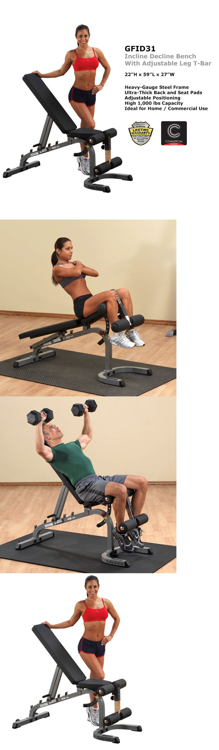 Benches 15281: Body-Solid Adjustable Flat Incline Decline Bench (Gfid31) - 2017 Model! -> BUY IT NOW ONLY: $305 on eBay!