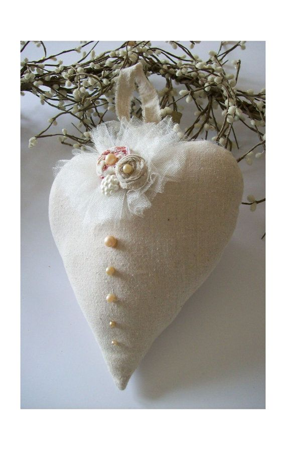 Fabric Heart - Vintage style - Cottage decor - French Country - Shabby