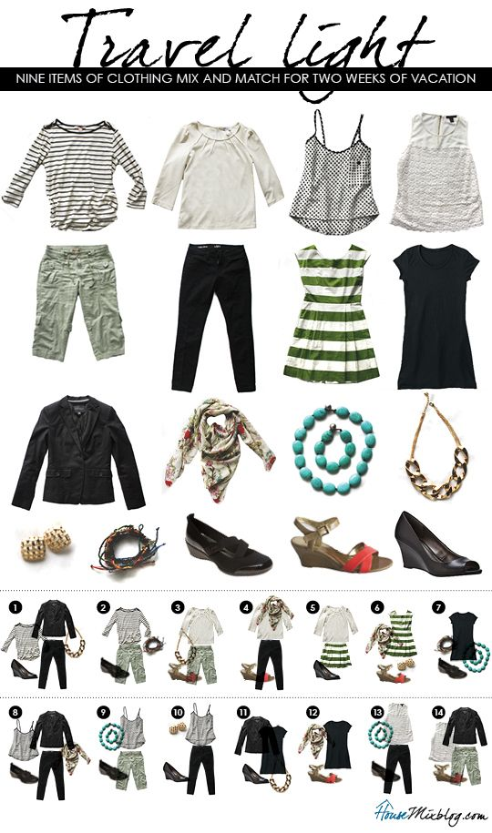 Light packing travel outfits.