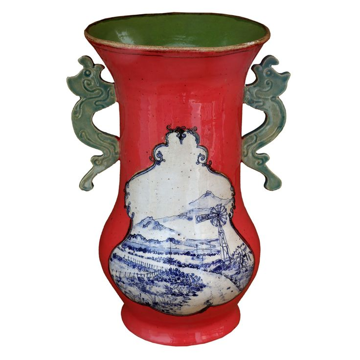 An original ceramic work by Lisa Ringwood entitled: 'Red Karoo Vase', ceramic, h 30cm. For more please visit www.finearts.co.za #ceramic #LisaRingwood #Ceramicist #SouthAfricanArt #SouthAfricanArtist #ChineseCeramics #InteriorDesign #Decor #Decoration #Landscape #Fauna #Flora #Birdlife #VOCware