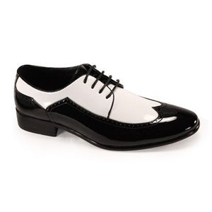 Black and White Zoot Mens Tuxedo Shoes by Harlem Knights