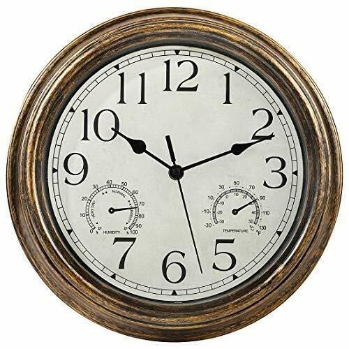 12 Inch Indoor Outdoor Waterproof Wall Clock With Thermometer And Bronze Ebay In 2020 Waterproof Wall Clock Wall Clock With Thermometer Wall Clock