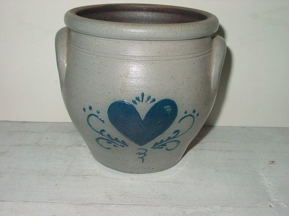Vintage Rockdale Union Stoneware Crock 1990 Small Handmade Collectible Home Decor