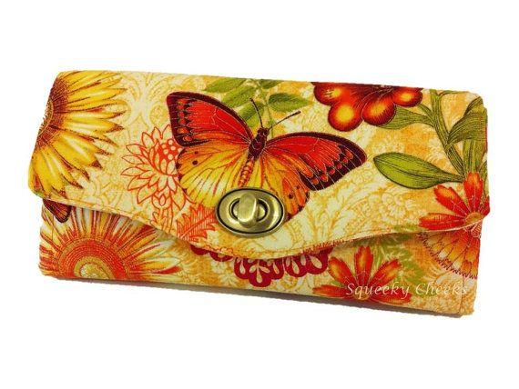 Necessary Clutch Purse/Wallet - Golden Butterflies, AUS, Floral, Gold, Autumn, Yellow