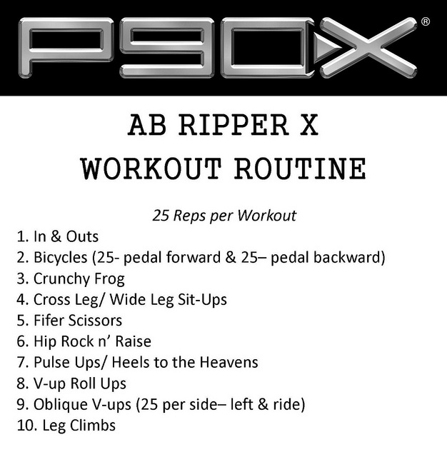 The Complete Guide to P90x Ab Ripper X- the only one missing is #11. Mason Twists (hit the floor 50 times)