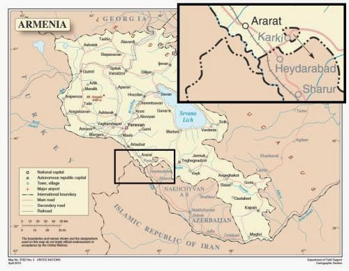 One of the most enduring myths of Caucasus history involves the little-noticed and oddly placed border between #Turkey and #Azerbaijan. At first glance at any map, this border is not readily apparent and seems almost nonexistent. However, on closer inspection, one can see a small sliver of land jutting out from Turkey's northeastern  #Igdir Province to the northern #Sadarak and #Sharur raions of Azerbaijan's #Nakhichevan Autonomous Republic.