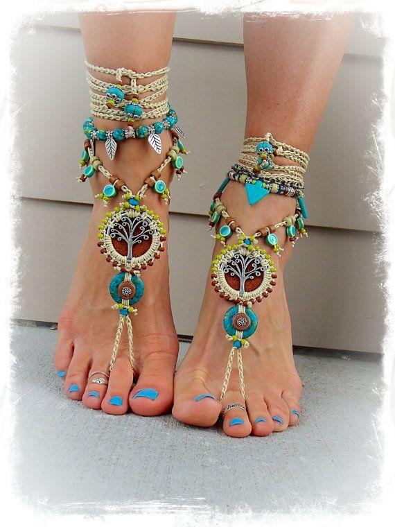 Yggdrasil perlée arbre de vie PIEDS NUS SANDALES Turquoise Pierre luxueux pied en cuir bijoux crochet sandale Terreux Jardin mariage GPyoga