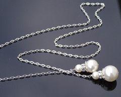 Stylish Swarovski Lariat Bridal Pendant Necklace, Julia
