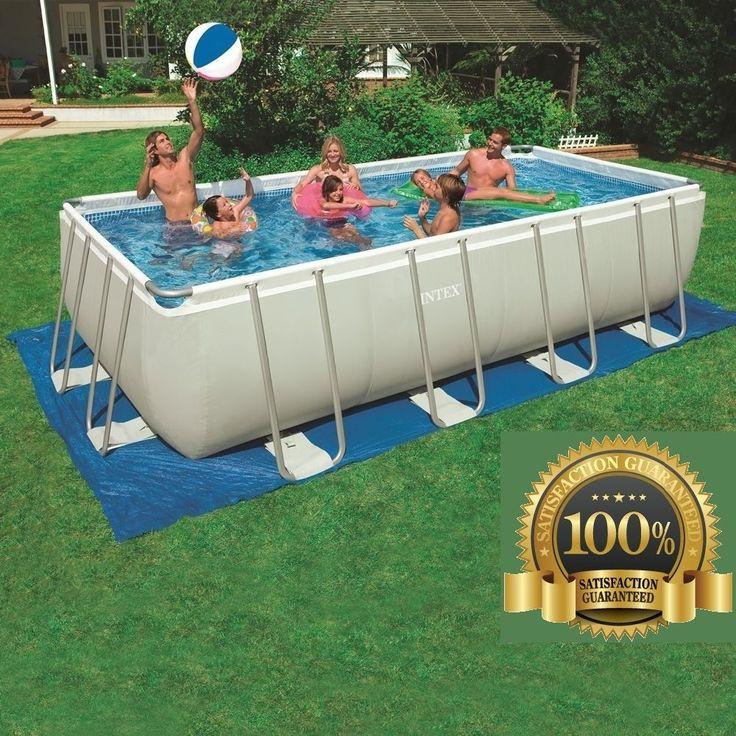 18 x 9FT Metal Framed Swimming Pool Rectangular Sand Filter Pump Timer Cover Tub…
