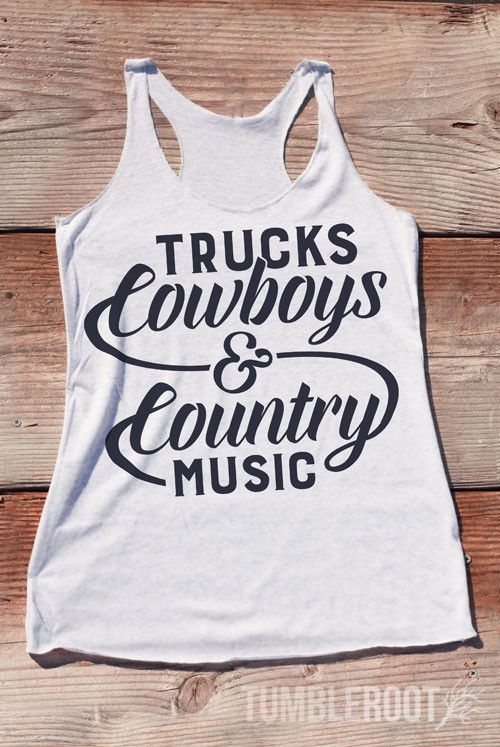 "Adorable ""Trucks Cowboys and Country Music"" racerback country girl tank top by TumbleRoot! Perfect for country festivals or tailgating!"