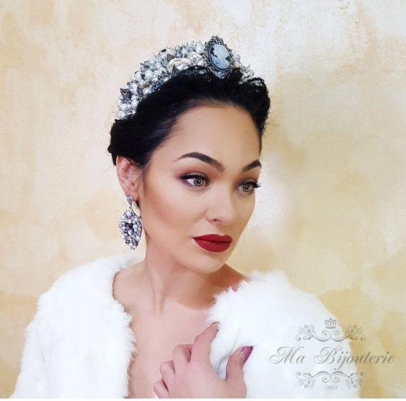 Bridal Statement Tiara Winter Queen Swarovski by MaBijouterie