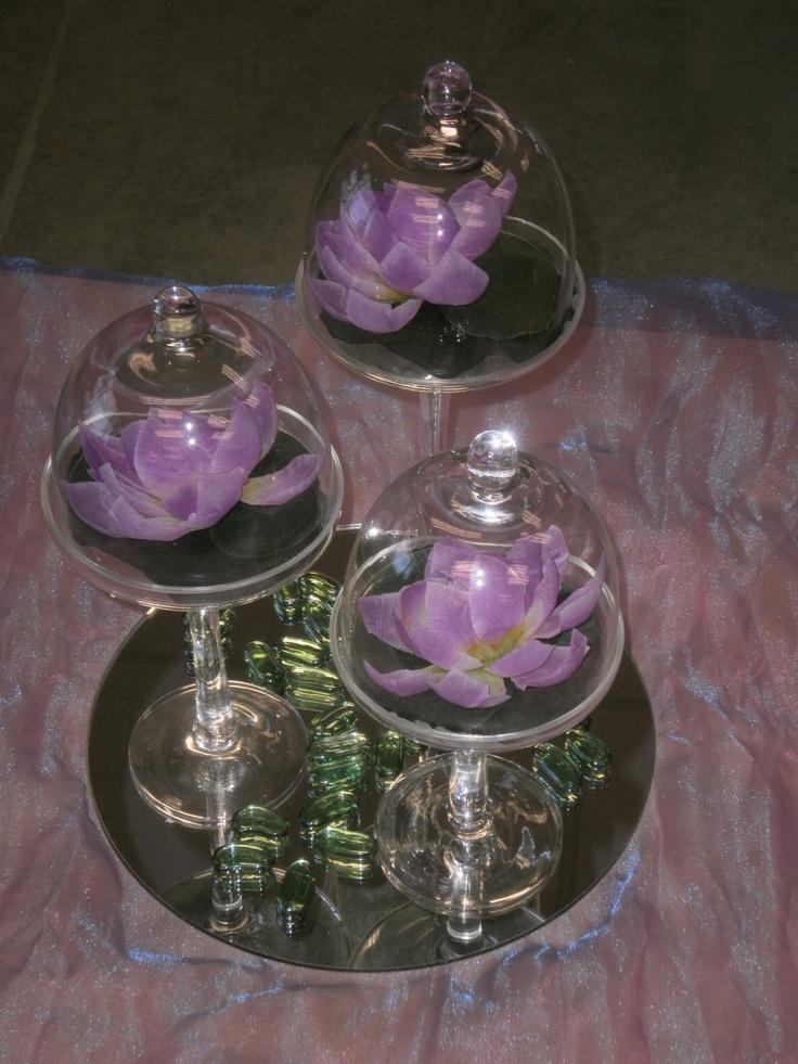 Silk lotus bloom centerpiece in house bridal designs