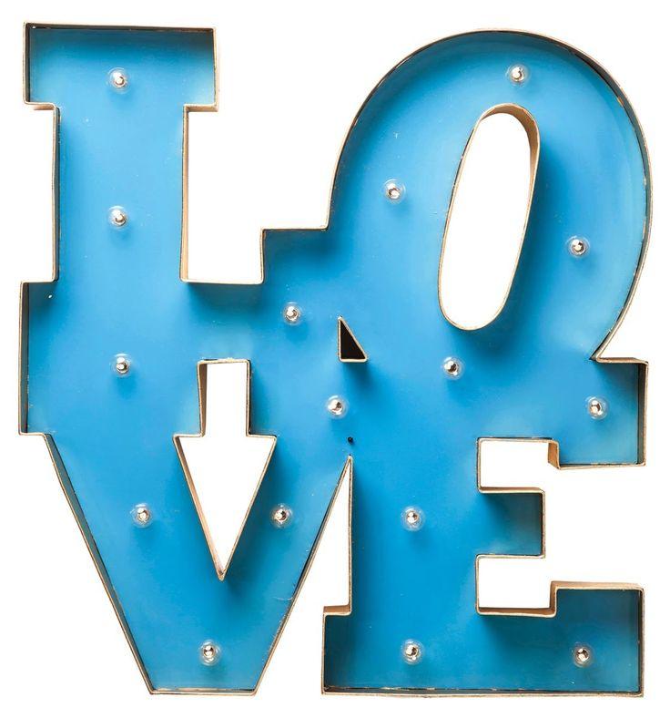 Insegna Luminosa Love Blu e Oro LED Kare Design