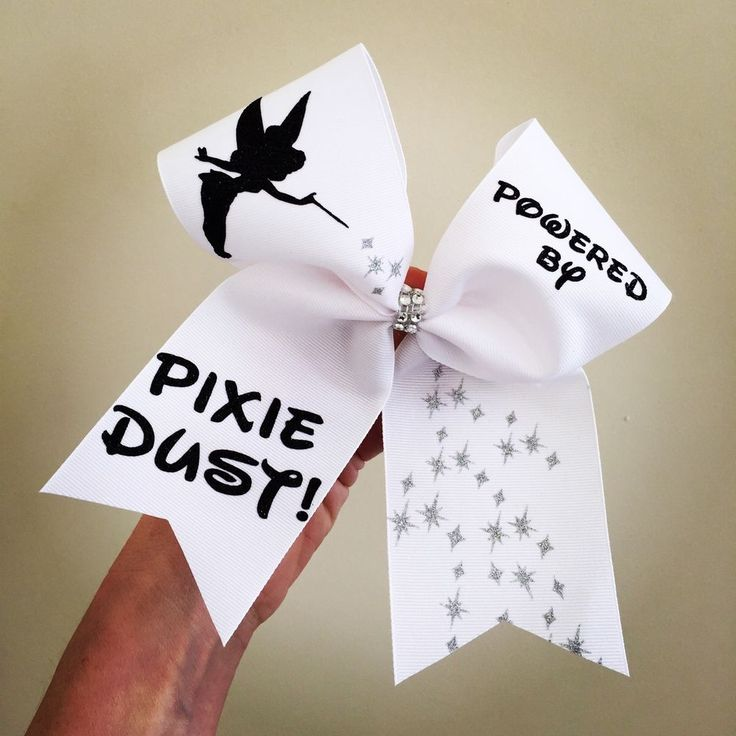 Powered By PIXIE DUST DELUXE Tinkerbell Cheer Bow White With Black Glitter #Handmade