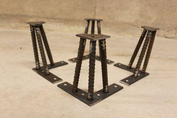 Metal Table Legs 6 Set of 4 Legs 1/2 ReBar by nakedMETALstudio