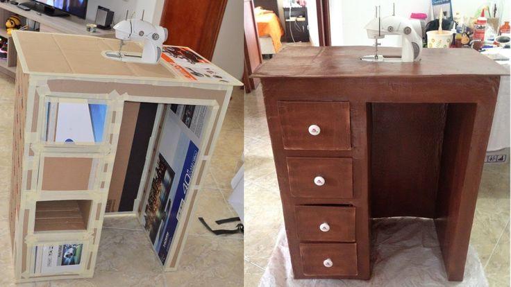 Tutorial: cómo hacer mueble de carton para escritorio o maquina de coser...