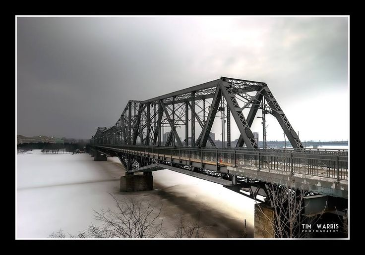 """The Bridge to Hull. Hull, Quebec is on the far end, Ottawa, Ontario on the near side. Feb. 2011"" Tim Warris"