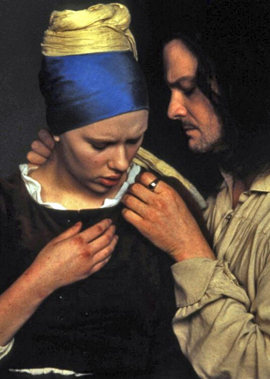 Scarlett Johansson (Griet) and Colin Firth (Vermeer) - Girl with a Pearl Earring directed by Peter Webber (2003) Novel by  Tracy Chevalier