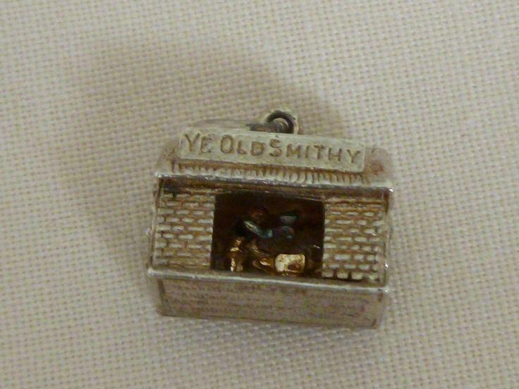 Vintage Blacksmith Charm - Silver Blacksmith Charm - Silver Blacksmith Pendant - Moving parts silver charm - Ye Olde Smithy Silver Charm by Teddyrose54 on Etsy