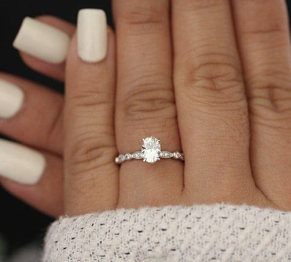 7x5mm Oval Moissanite Forever Classic Engagement Ring, 14k White Gold Moissanite…